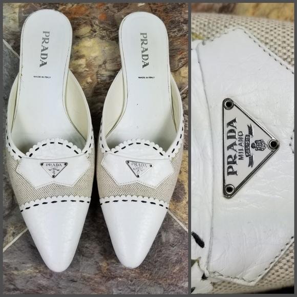 Prada Schuhes   Damenschuhe Weiß Pointed Ballet Flat 8 Größe 385 8 Flat   Poshmark 466239